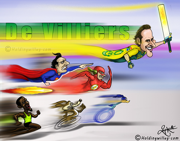 The Fastest 50,100 & 150 By AB De Villiers Cartoon